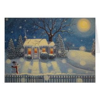 Snowman's Cottage Card