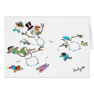 Snowman's Holiday Fight Greeting Card