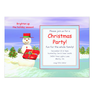 Snowman's Present Christmas Party Card