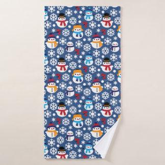 Snowmans & Snowflakes Seamless Pattern Bath Towel