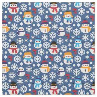 Snowmans & Snowflakes Seamless Pattern Fabric