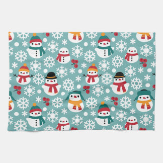 Snowmans & Snowflakes Seamless Pattern Kitchen Towel