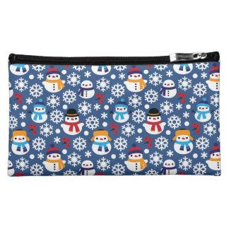 Snowmans & Snowflakes Seamless Pattern Makeup Bag