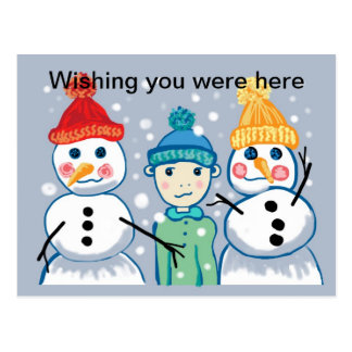 snowmen and beanies Postcard