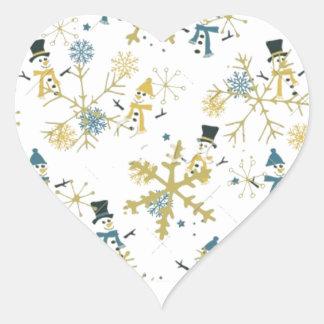 Snowmen and flakes heart sticker