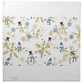 Snowmen and flakes napkin