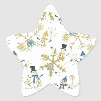 Snowmen and flakes star sticker
