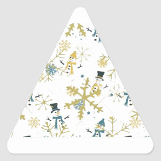 Snowmen and flakes triangle sticker