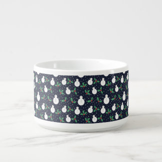 Snowmen and mistletoe pattern bowl