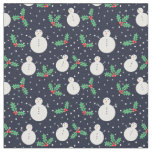 Snowmen and mistletoe pattern fabric
