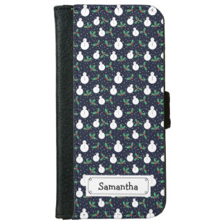 Snowmen and mistletoe pattern iPhone 6 wallet case