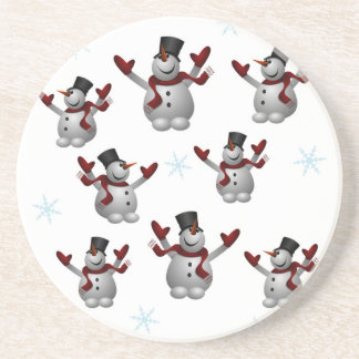 Snowmen and Snowflakes Beverage Coaster