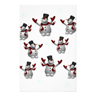 Snowmen and Snowflakes Customized Stationery