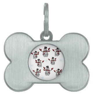 Snowmen and Snowflakes Pet Name Tag