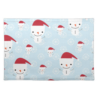 Snowmen and snowflakes placemat