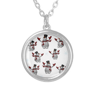 Snowmen and Snowflakes Silver Plated Necklace
