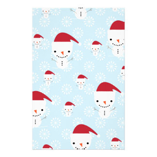 Snowmen and snowflakes stationery