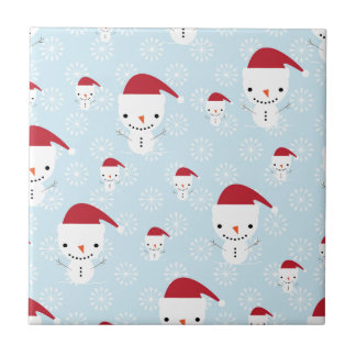 Snowmen and snowflakes tile