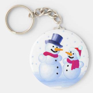 Snowmen Basic Round Button Keychain