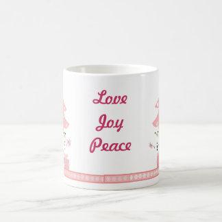 Snowmen by a Pink Christmas Tree Coffee Mug