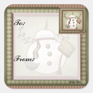 Snowmen Christmas Gift Tag Sticker