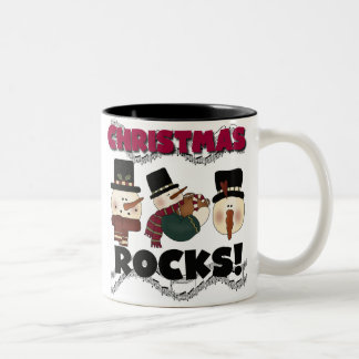 Snowmen Christmas Rocks Two-Tone Coffee Mug