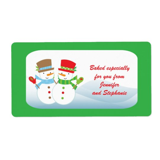 Snowmen customizable baked goods gift tag label
