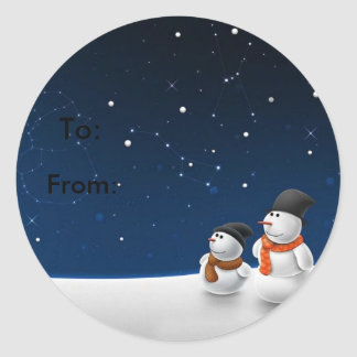 Snowmen father and son classic round sticker