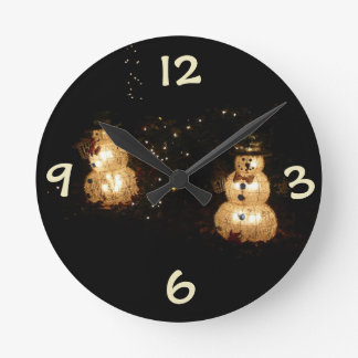 Snowmen Holiday Light Display Round Clock