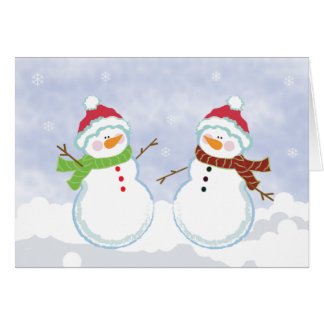 SNOWMEN Holiday Winter Christmas Greeting Card