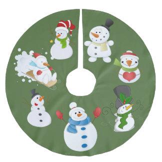 Snowmen images tree skirt. brushed polyester tree skirt