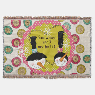 Snowmen Melt My Heart Holiday Throw