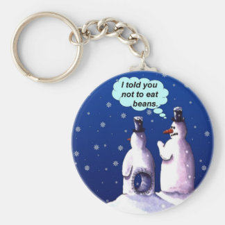 Snowmen Should NOT Eat Beans Keychain