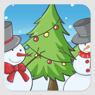 snowmen square sticker