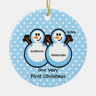 Snowmen Twin Boys Baby's First Christmas Ornament