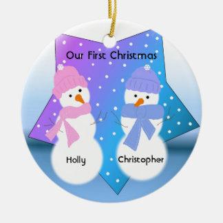 Snowmen Twins First Christmas Round Ceramic Ornament