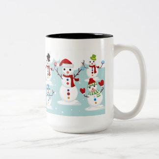 Snowmen Two-Tone Coffee Mug