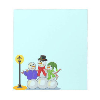 Snowmen Victorian Carolers Pale Blue Notepad