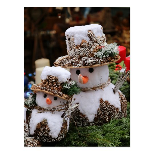 Snowmen Wearing Pinecone Hat Postcard