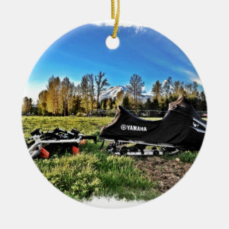 snowmobile ceramic ornament