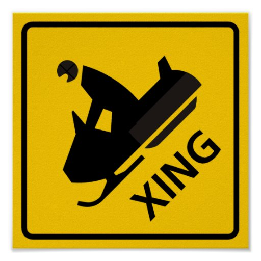 Snowmobile Crossing Highway Sign Print