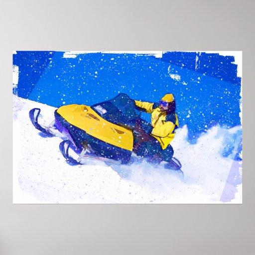 Snowmobile jaune dans la tempête de neige poster
