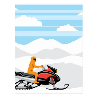 Snowmobile landscape postcard