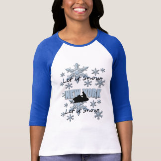 Snowmobile Let it Snow New York Raglan T-shirt