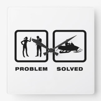 Snowmobile Lover Square Wall Clock