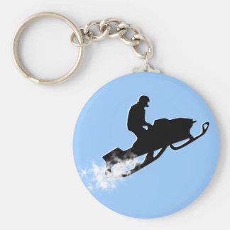 snowmobile. powder trail. basic round button keychain