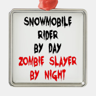 Snowmobile Rider Zombie Slayer Metal Ornament