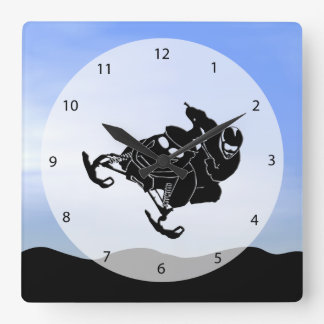 Snowmobile Square Wall Clock