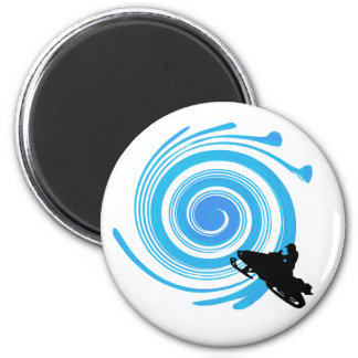 SNOWMOBILE THE TWIRL 2 INCH ROUND MAGNET