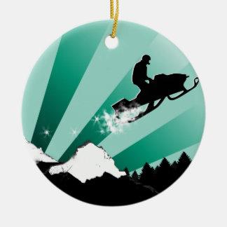 snowmobile trail round ceramic ornament